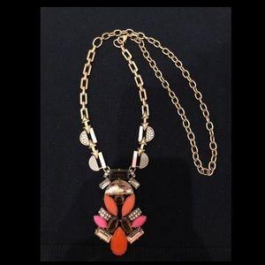 Stella & Dot Pop Geo pink/orange necklace